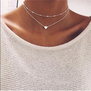 2 Piece Silver Necklace Choker Set